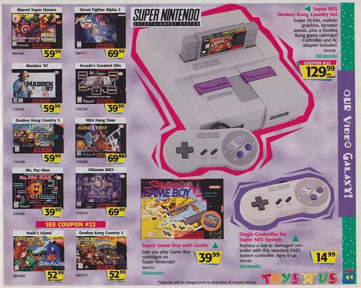 retrogaming_uk: Old Toys'r'us advert for the Snes  Controller 14.99 #toysrus #gameboy #nintendo #newspaper #advert #nes #tetris #mario #pokemon #handheld #sega #mastersystem #retroconsole #lightgun #duckhunt #rob #legendofzelda #bowser #64bit #nintendo64 #n64 #snes #gameboy #microobbit