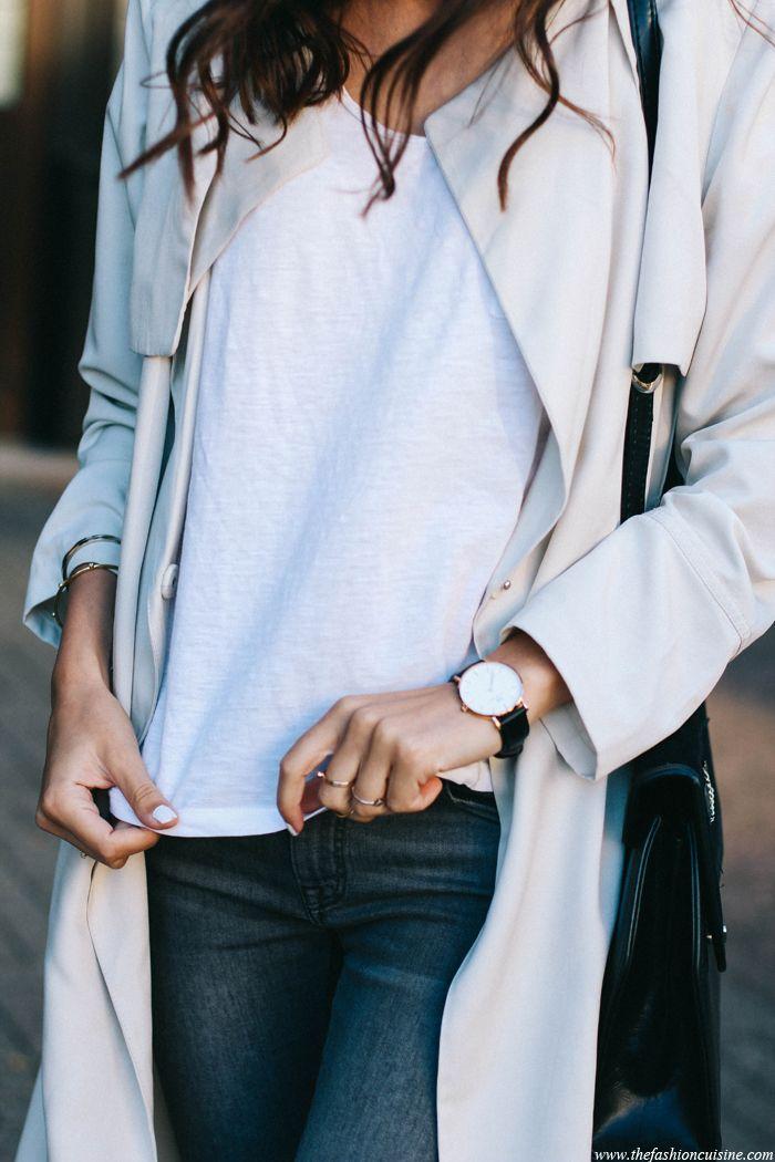 white tee, daniel wellington watch, golden rings