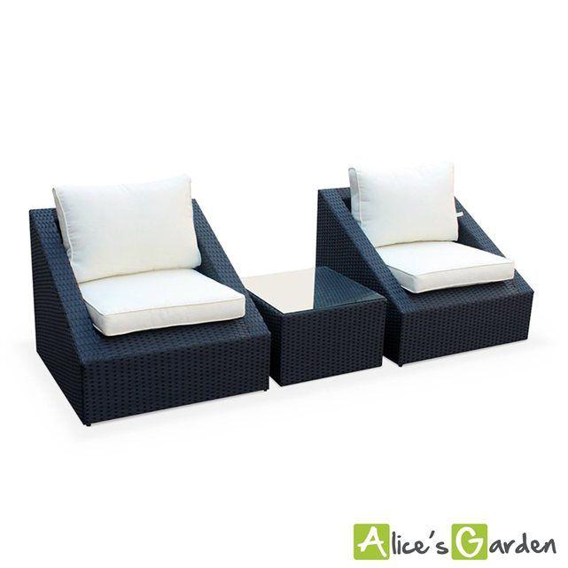 Salon de jardin 3 éléments en résine tressée noire 2 fauteuils 1 table basse emp ALICE S GARDEN