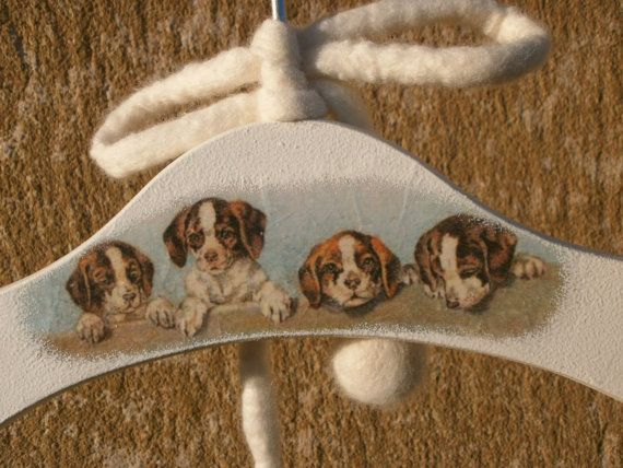 Decoupaged Child's Clothes-Hanger with Pet Dogs, Animal Portrait Wood Hanger, White Hanger for Infant's Clothes Decorated with Doggies