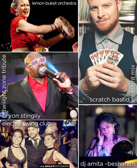 Calendar collage for October 2013 at Revival Bar including: Lemon Buket Orchestra, Bryon Stingily, Skratch Bastid, Electro Swing Club, Besharam.