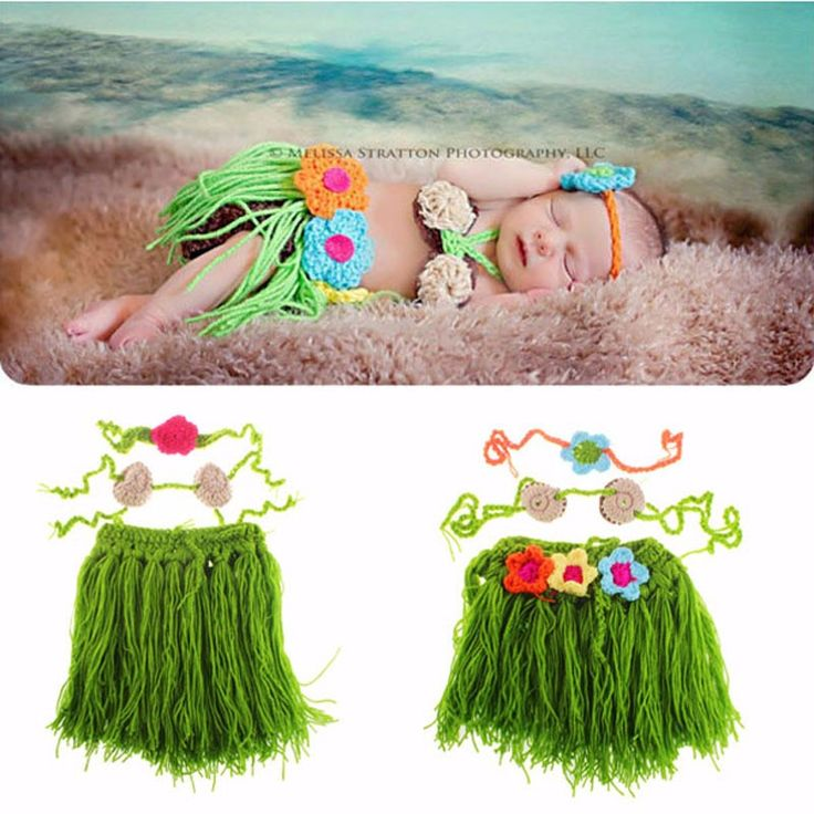 Cool Baby Hawaiian Hula Dancer Grass Skirt Covered with Diaper & Coconut Bra and a headband Flower Cluster on the Skirt Photo Props - $13.23 - Buy it Now!