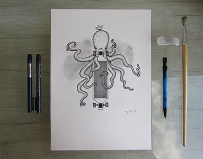 """Check out new work on my @Behance portfolio: """"Commission octopus and longboard.""""…"""