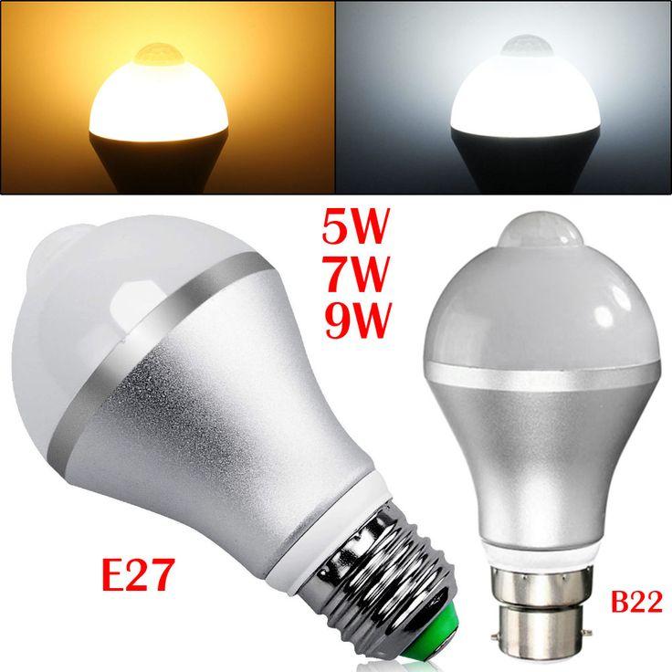 3200K/6500K E27/B22 Smart Auto On/Off PIR Motion Sensor LED Nightlight Light Lamp Globe Bulb 500-550lm With 2Light color #Affiliate