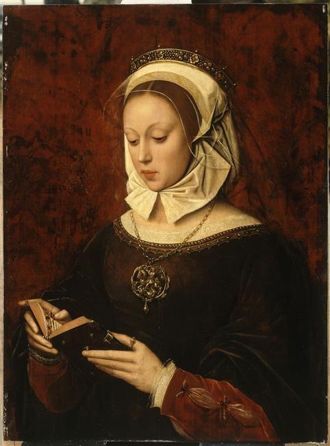 Jeune femme lisant un livre d'heures, par Benson Ambrosius (1519-1550)