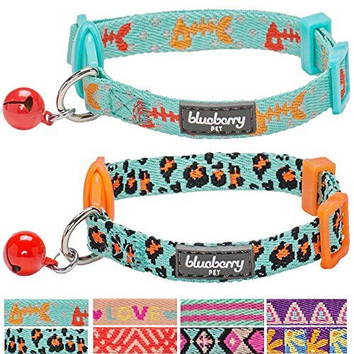 "Blueberry Pet Pack of 2 Cat Collars, Hunting Expedition with Fish Bone and Leopard Print Adjustable Breakaway Cat Collar with Bell, Neck 9""-13"" - We know despite the tranquil look of your cat, he/she may get the siren call from the wild any time. Our designer picked these two special collars as a value pack to help your feline feel like in the nature. The first one features expanded ocean, with swarms of fish, in cute color of pink and ora..."