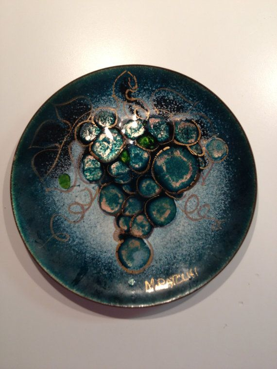 Mid Century Enamel On Copper Plate M Ratcliff By