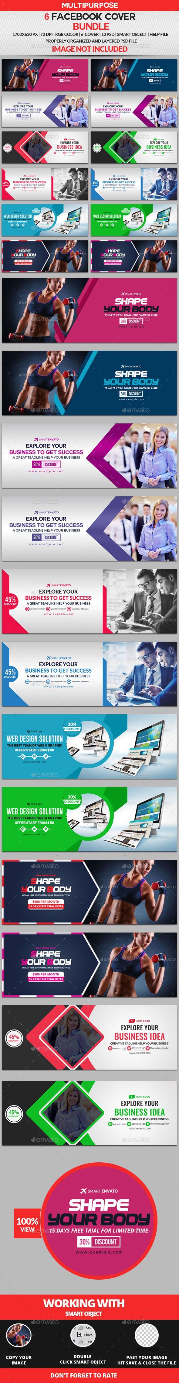 Facebook Cover Template PSD Bundle - 6 Design