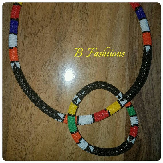 Check out this item in my Etsy shop https://www.etsy.com/uk/listing/474430543/black-zulu-necklace-and-bracelet