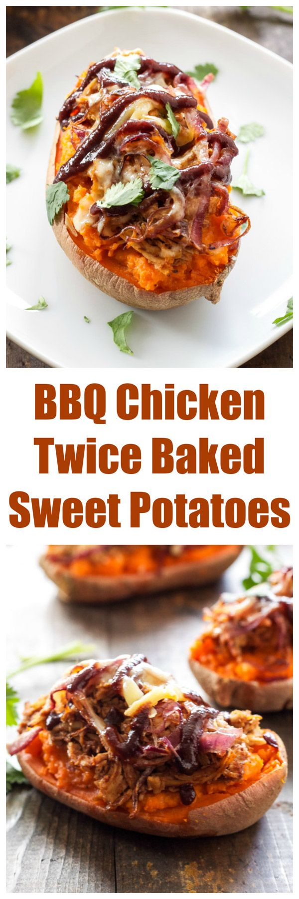 BBQ Chicken Twice Baked Sweet Potatoes   5 ingredient twice baked sweet potatoes stuffed with BBQ chicken and smoked gouda!   www.reciperunner.com
