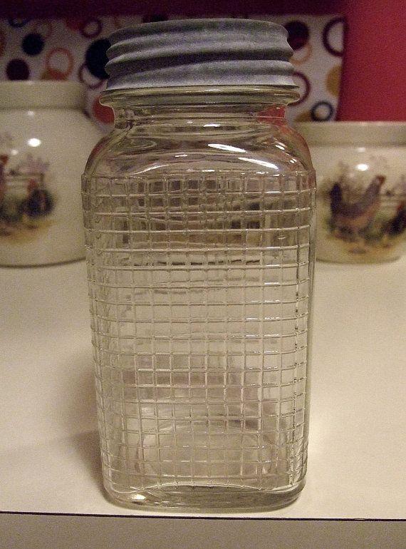 Embossed Fruit Pattern Glass Jar