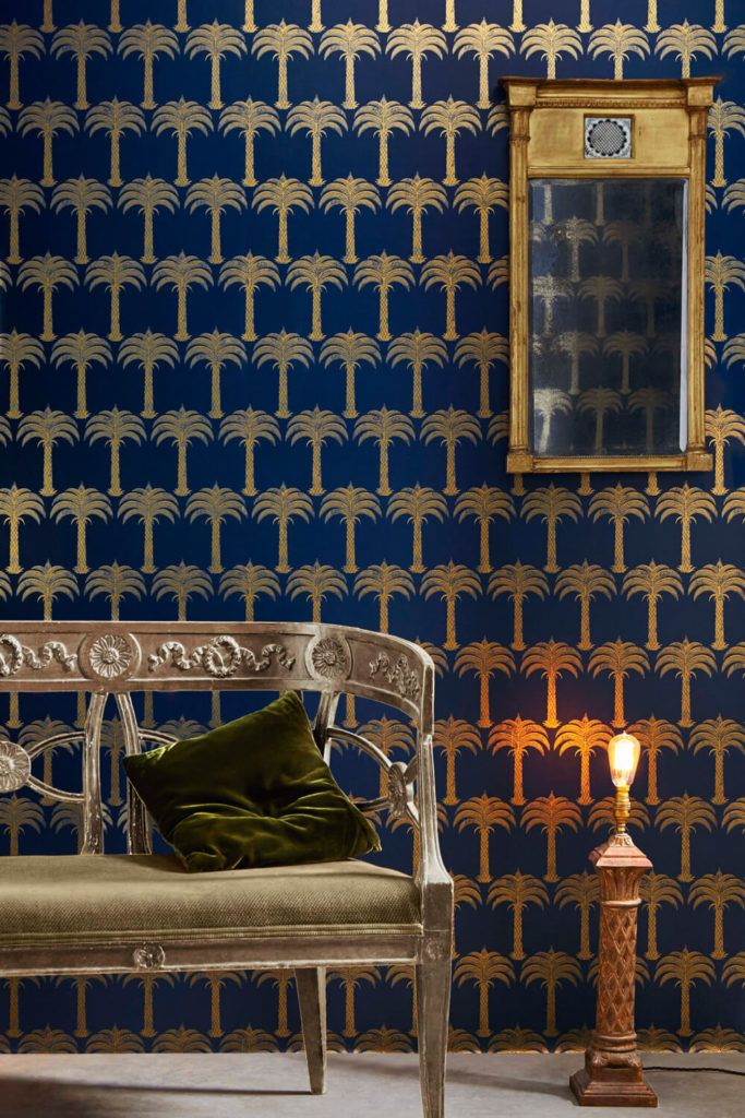 Marrakech Palm   Midnight Blue , A Feature Wallpaper From Barneby Gates,  Featured In The Collection VII Collection.