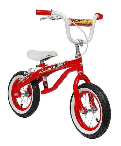 WeeRide 12-Inch Push Bike (Red) by Kent. $59.26. Amazon.com                Give your child a headstart on learning how to ride a bike with the WeeRide Push Bike Trainer, which looks just like a bicycle but without the crank and pedals. Designed to help your child learn the basics of balancing before graduating to pedaling, the Push Bike Trainer helps the frustration out of learning to ride a bicycle for both the child and the parent. By using his or her feet to move...