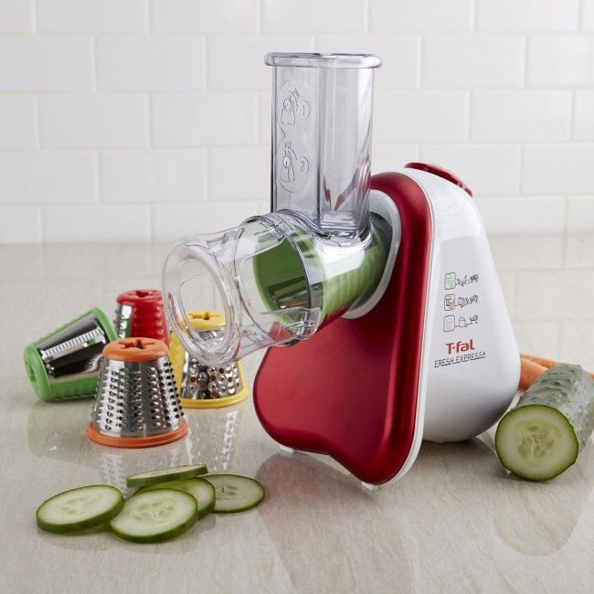 This compact electric food slicer/grater is simple to use, safe, and easy to clean. It quickly grates, shreds, or slices a variety of fruit, vegetables, cheeses, and even nuts! The unit comes with 5 colour-coded cones that each serve a different purpose. Use the orange cone to finely shred carrots, zucchini, potatoes, cucumbers, chocolate, hard cheeses, and coconut.