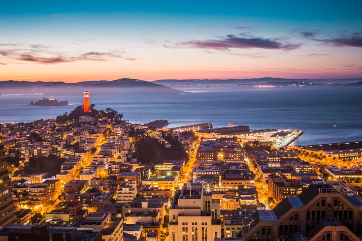 Coit Tower, Alcatraz and Part of San Francisco Bay ➤ DOWNLOAD by click on the picture ➤ #Alcatraz #Bay #Buildings #California #City #Clouds #CoitTower #Evening #Houses #Lights #Night #Ocean #Piers #SanFrancisco #SfBay #Streets #Sunset #Tower #freestockphotos #picjumbo