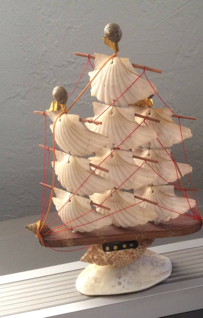 Vintage Sail Boat Model Made With Sea Shells Efcco Imports Japan Nautical Beach House Decor Home By LADYG99 On Etsy