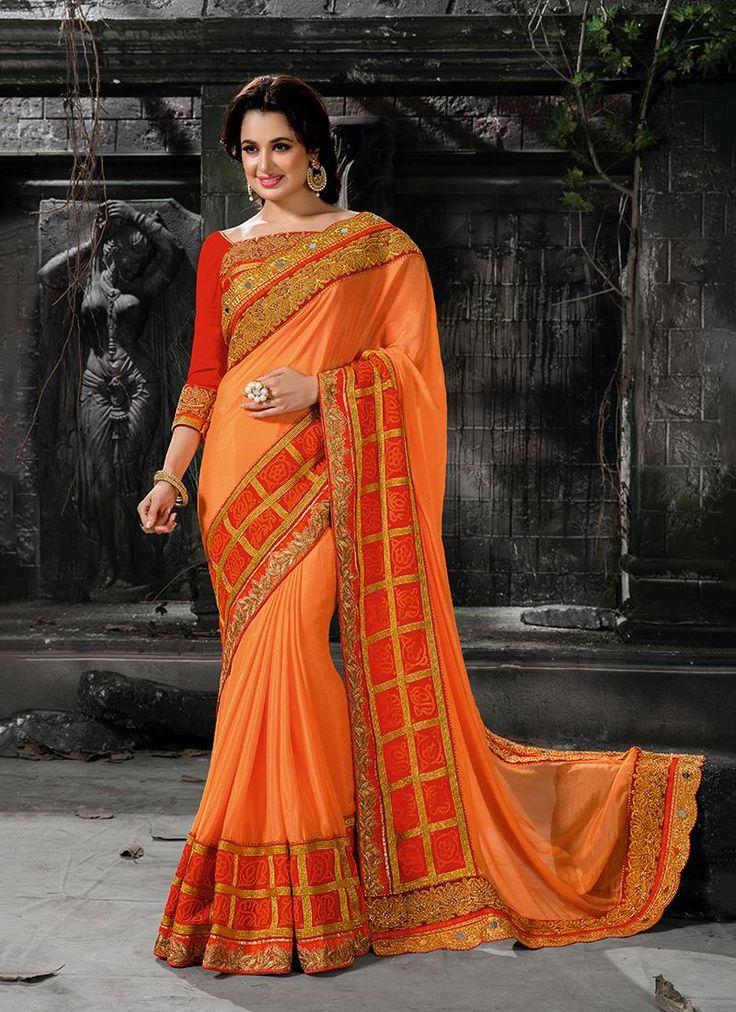 Online shopping of saree, latest saree designs, saree collection online. Grab this unique orange designer traditional sarees for bridal and wedding.