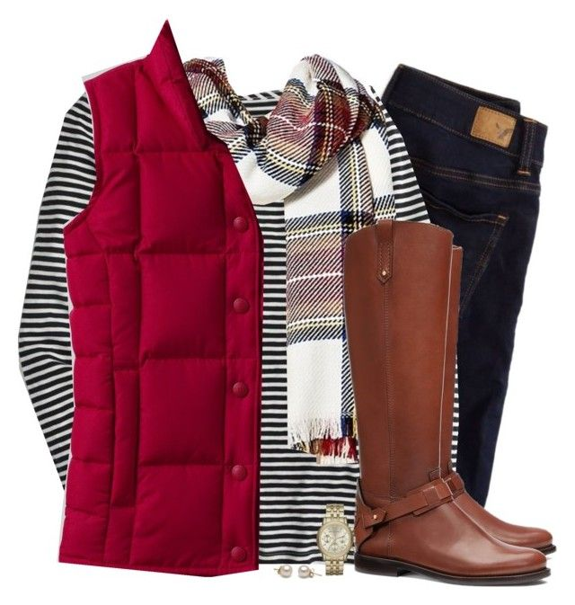 """Red down vest, tartan scarf & striped top"" by steffiestaffie ❤ liked on Polyvore featuring American Eagle Outfitters, J.Crew, Merona, Lands' End, Tory Burch and Michael Kors"
