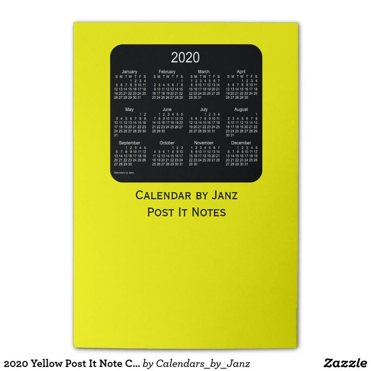 2020 Yellow Post It Note Calendars by Janz