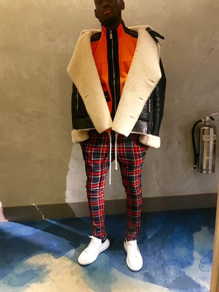 CHYNASSTYLE -  Blood Brothers tartan trousers Alexander McQueen sneakers Harvey Nichols leather jacket