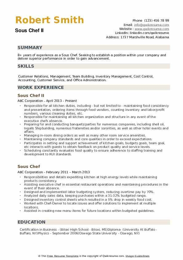 Sous Chef Chef Resume Sample Resume Templates Job Resume Examples