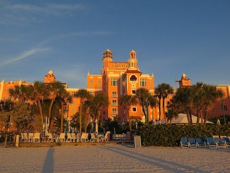 """Loews Don CeSar (the """"Pink Lady"""") in the golden light of the setting sun on St. Pete Beach"""