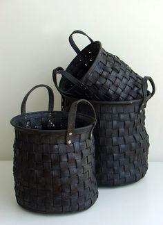Recycled tire baskets. Very interesting! Garage organization?