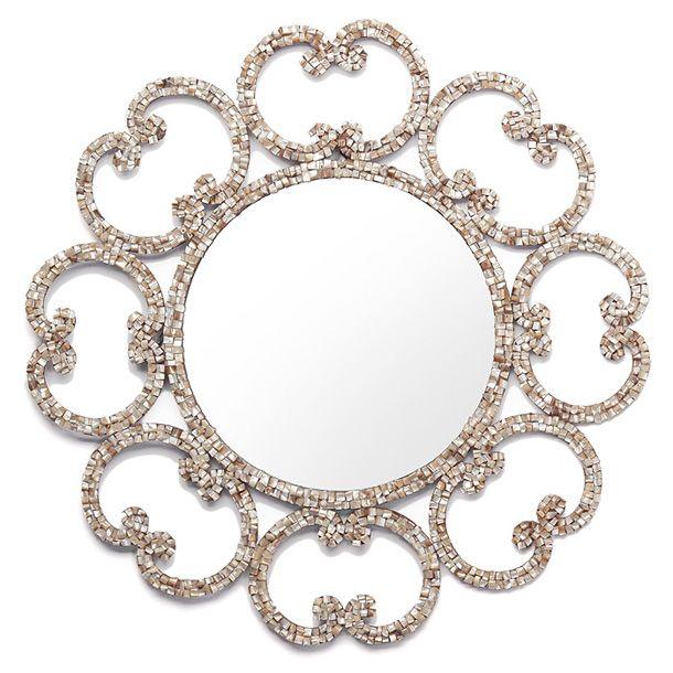 chic round mirror: Ella Mirror, Decor Products, Gorgeous Mirror, Round Mirror, Shells Mirror, Wall Mirror, Crafts Home Decor, Crafts Products, Beautiful Mirror