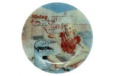 Jason Retro Modern Woman Round Glass Platter