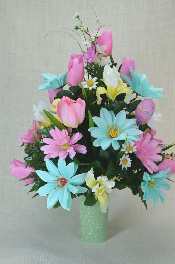 No.C0314 Spring Cemetery Arrangement, Easter Cemetery , Spring Cone Flower, Cone Arrangement,Grave, Tombstone arrangement,  Cemetery flowers by AFlowerAndMore on Etsy