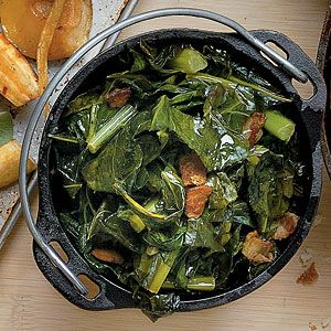 Bacon-and-Bourbon Collards  What man wouldn't eat collards with bacon, bourbon, and beer???