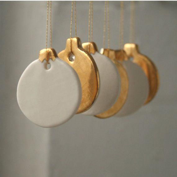 Mini Bauble Decoration Set 6 real gold lustre by joheckett on Etsy, £35.00