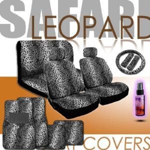 New 16 Pieces Safari Snow Leopard Print Low Back Front Car