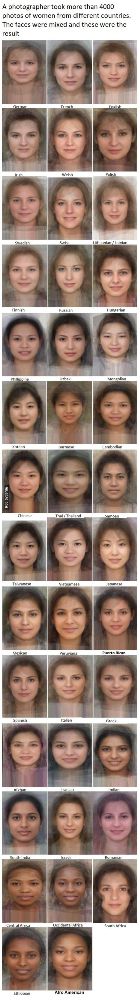 Average face from women from different countries, and they are all still beautiful.