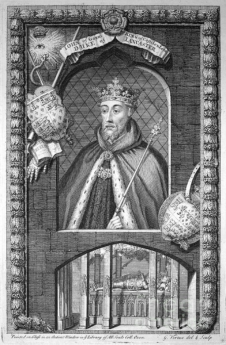 """John of Gaunt, 1st Duke of Lancaster (second creation), KG (6 March 1340 – 3 February 1399) was a member of the House of Plantagenet, the third surviving son of King Edward III of England and Philippa of Hainault. He was called """"John of Gaunt"""" because he was born in Ghent, rendered in English as Gaunt. (21gf//mtk)"""