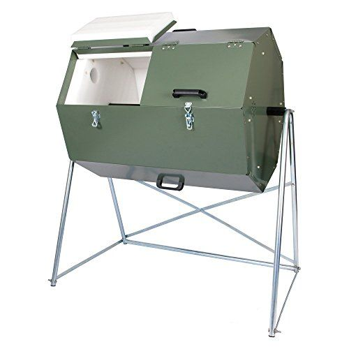 Jora 70 Gallon 270 Compost Tumbler > Insulated composter with dual compartments Composts kitchen waste hygienically and quickly Galvanized sheet metal for years of rust-proof use