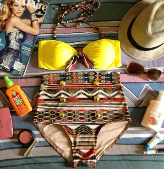 Retro Aztec Print High-waist Bikini Set