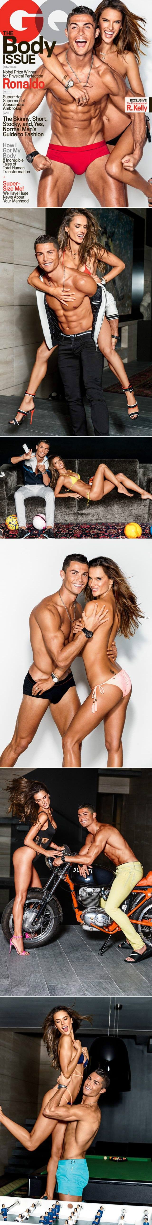 Alessandra Ambrosio & Cristiano Ronaldo for #GQ #February #2016