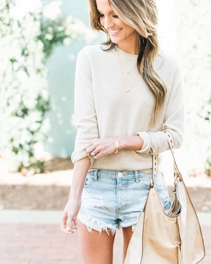"""mrandmrs2015: """"hello spring , hello sweaters with shorts all day everyday ✌️(best denim shorts in all the land ) 