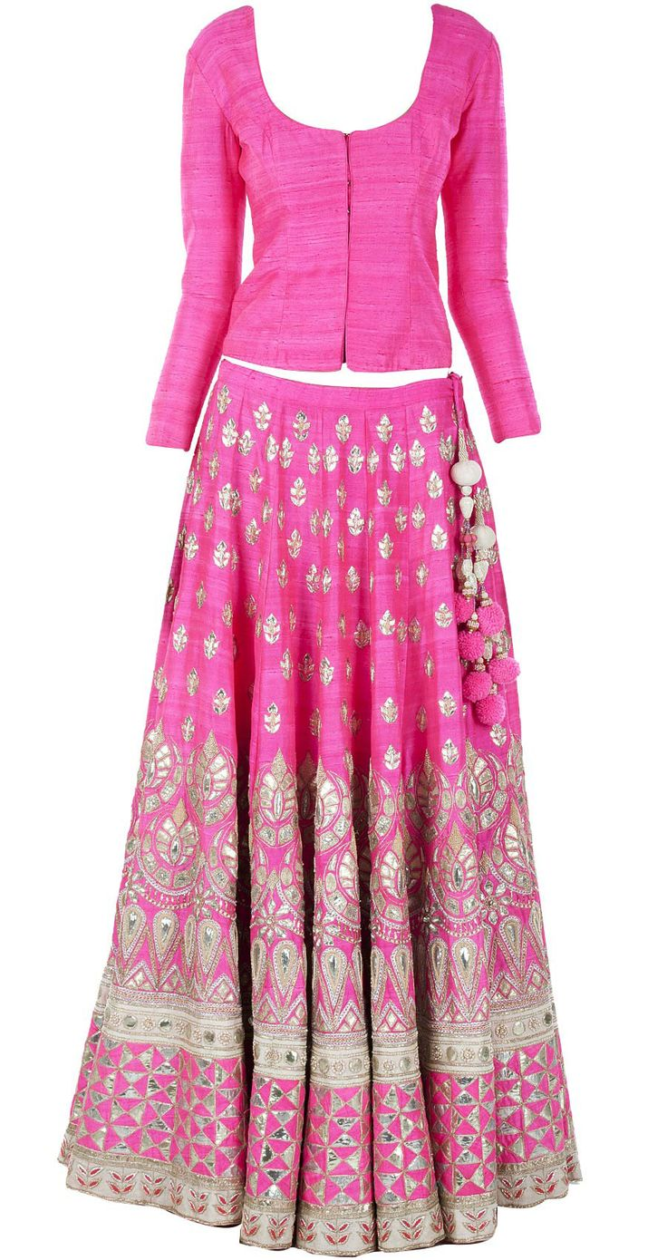Pink gota pati embroidered lehenga with raw silk bandi. Creation by Anita Dongre