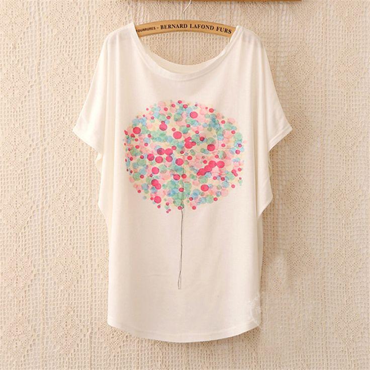 Cheap Nuevos 2015 forman a mujeres camiseta casual ropa mujer del algodón del globo impresión del o cuello corto manga camiseta mujeres camisetas tallas grandes, Compro Calidad Camisetas directamente de los surtidores de China:                                                         Bienvenido a nuestra tienda