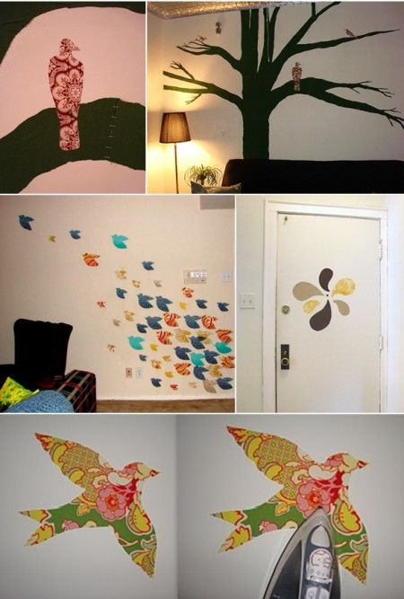 DIY wall decals- soak fabric in a corn starch solution, and the fabric sticks to the wall! Then when you want to take it off, it peels away easily without damaging the walls!