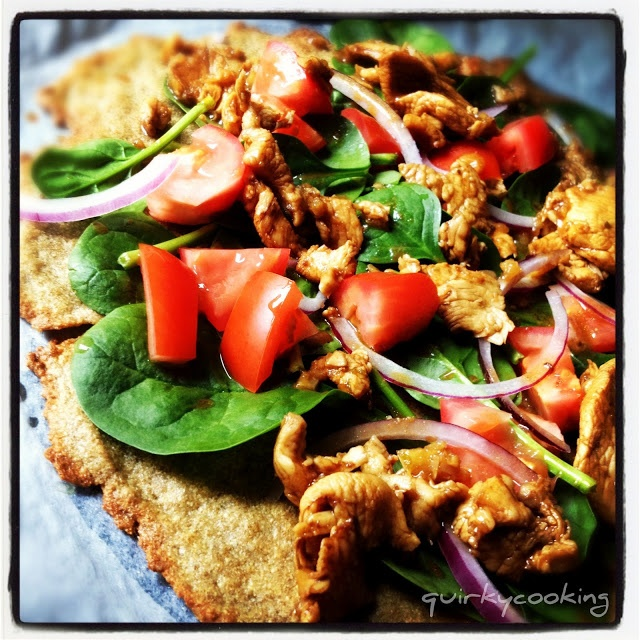 Quirky Cooking: Fajita Chicken & Salad Pizza on Quinoa & Chia Seed Flatbread