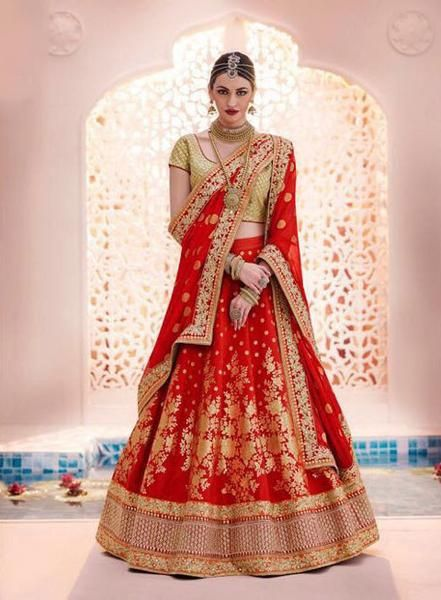 Bridal Red Brocade Heavy Lehenga Choli Fashion