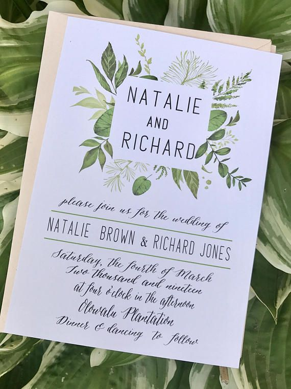 Greenery Typography Wedding invitations  deposit to begin