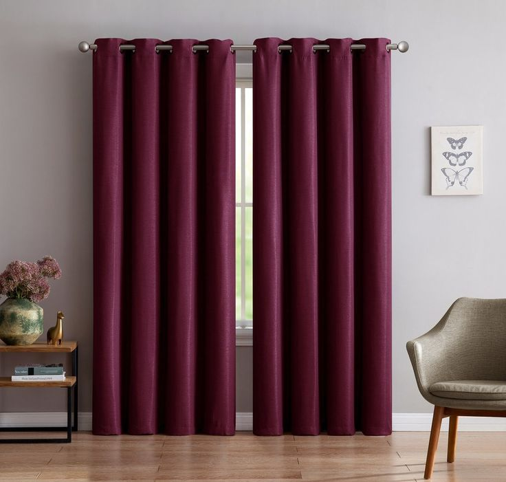 pocket dp rod blackout curtains and burgundy draperies solid nicetown panels com drapes insulated amazon thermal red