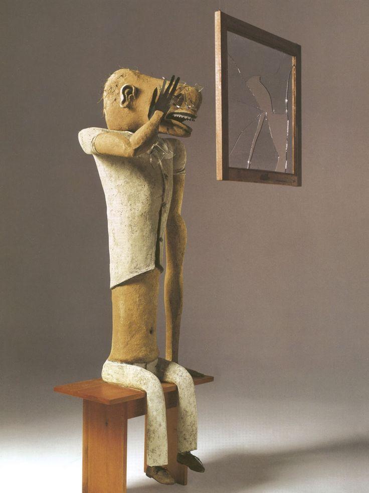 PINTORES COLOMBIANOS - ARTE: GERMÁN LONDOÑO.hombre mirando a traves de la ventana.