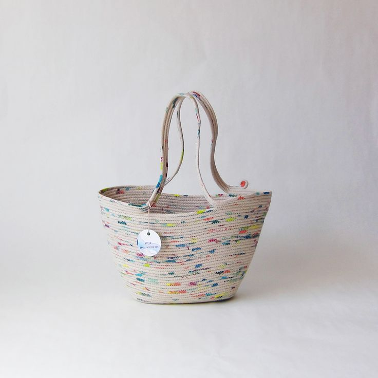 Handmade, hand painted, rainbow rope market basket