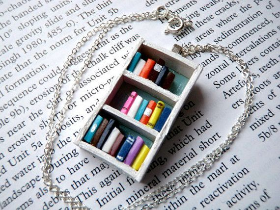 Beach House Bookshelf Necklace - Book Jewelry by Coryographies  - made with wood & polymer clay.