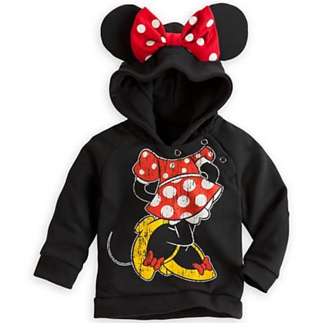Bundle-up baby for breezy nights at Disney Parks in Minnie's pullover hoodie with padded ears and bow right on the hood! Minnie's dress is printed on the front, so it's the perfect chance let your littlest Mouseketeer take the lead role!